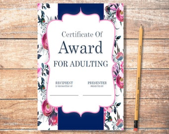 PDF Printable Certificate: Adulting Floral 4