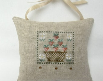 Strawberry Cross Stitch Hanging Mini Pillow Ornament, Summer Fruit