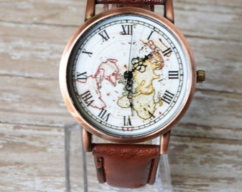 Mens wrist watches etsy leather wrist watch world map watch woman leather watch world map travel gift gumiabroncs Choice Image