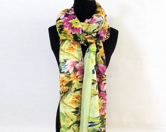 Yellow Floral Chiffon Scarf - Large Floral Shawl - Polyester Chiffon Scarf - Bold Floral Printed Scarf - Handmade Floral Scarf Yellow