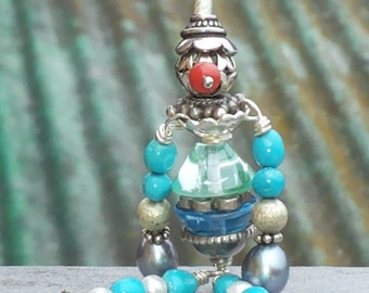 ADOPT a DOLL-sterling silver, turquoise, pearls, coral , topaz puppet pendant