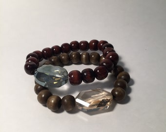 Natural Wood Bracelet With Statement Bead