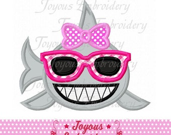 Instant Download Shark For Girls Applique Machine Embroidery Design NO:2471
