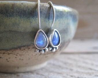 Moonstone Earrings, Boho Moonstone Earrings, Drop Earrings, Bohemian Earrings, Rainbow Moonstone Earrings
