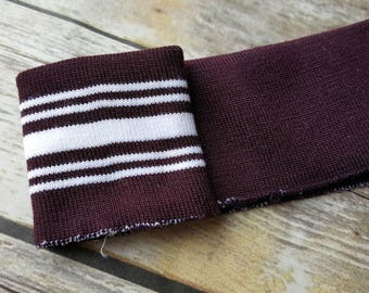 Maroon/brown and white multi striped knit cuff fabric, pre-cut - letterjacket - ribbing-cotton ribbed knit - sweatshirt fabric- cuffs -trims