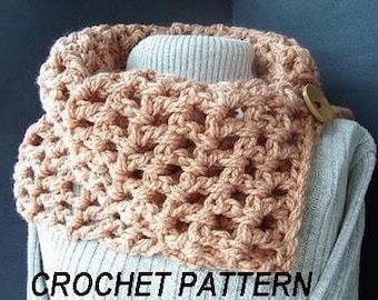 crochet scarf patterns, Num. 73.Chunky tan cowl.,Beginner Level,Quick and Easy.instant download