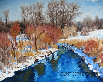 Original Impressionist Oil Painting Michigan Winter Landscape 16 x 20
