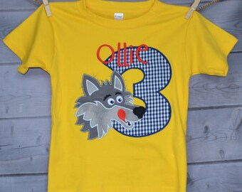 Personalized Birthday Big Bad Wolf Applique Shirt or Bodysuit Girl or Boy