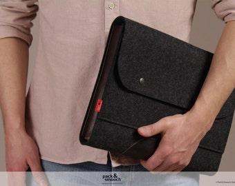 pour ordinateur portable, macbook 15 pouces de la caisse, en feutre de laine, cuir Corriedale taille L CO-L-Bad