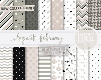 Valentine's day Digital Paper love Backgrounds hearts pale pink grey black chevron arrows stripes polka dots cupid for blog, invitations