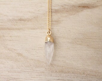 Quartz spike necklace, gold spike, spike necklace, layering necklace