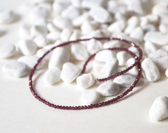 Handmade Sterling Silver with Tiny Garnet Beads Necklace, Birth stone for January, Ready to ship