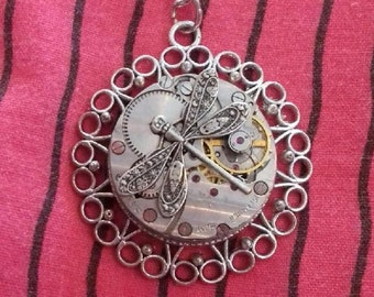 Necklace steampunk gears silver watch with Dragonfly insect