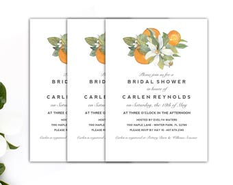 Bridal Shower Invitation // Citrus Shower Invitation // Wedding Shower Invitation // 5x7 Vintage Florida Shower Invitation // The Carlen