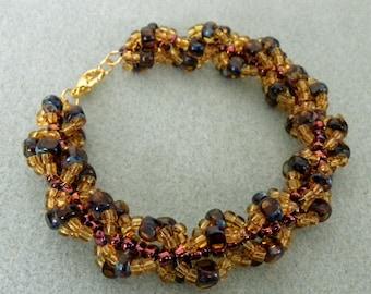 Amber Colored Beaded Bangle Bracelet
