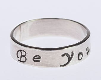 Stacking Band Ring, Motivational Ring, Sterling Silver Band Inspirational Quote Inspiring Encouragement Statement Motivation Self-confidence