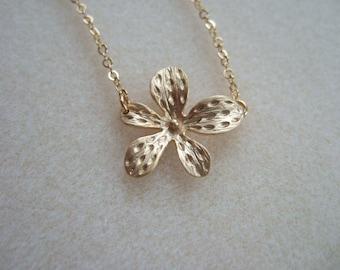 Orchid Flower Charm Pendant Necklace