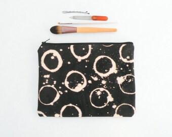 Eclipse Black Canvas Makeup Bag - Zipper Pouch - Bleach Dye - Back to School Supplies