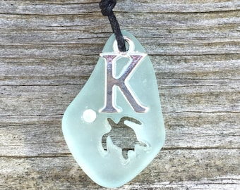 Carved Honu Turtle Sea Glass Necklace Pale Aqua Initial  by Wave of Life™
