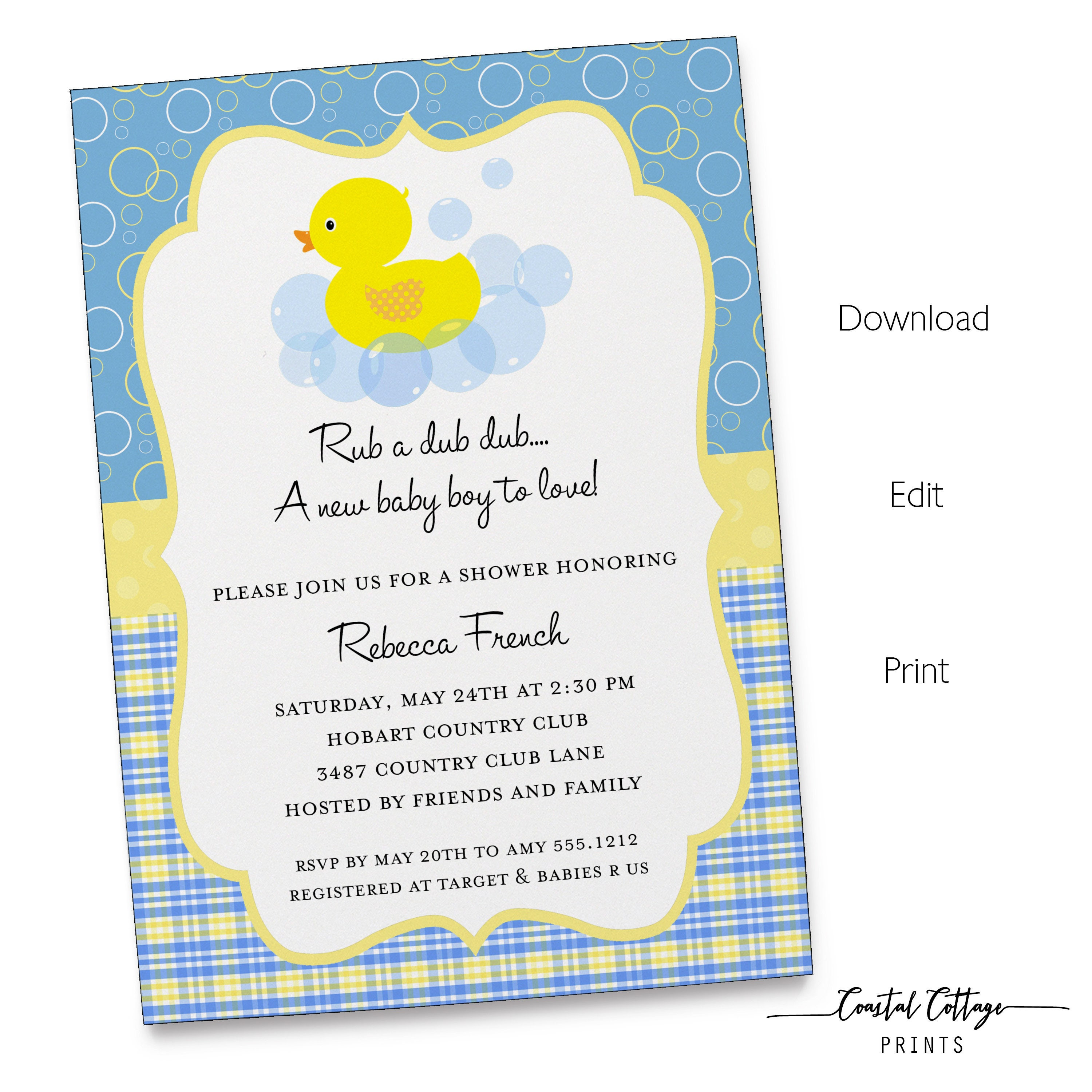 Awesome Baby Shower Duck Invitations Ideas - Invitation Card Ideas ...