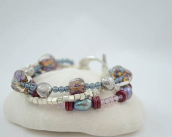 Three Strand Maroon and Purple Lampwork Bracelet