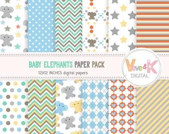 Baby Elephants Digital Paper, Elephant Digital Paper, Elephant Baby Shower, Elephants, Elephants Clip Art, Baby Boy Elephants Commercial Use