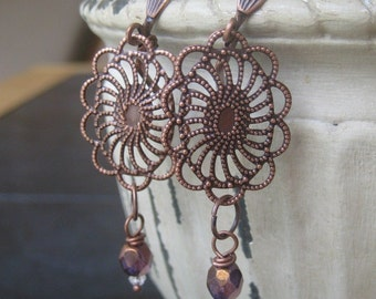 Bronze Crystal Blossom Dangle Earrings