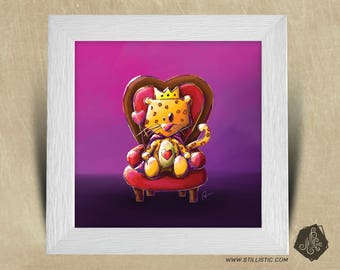 Frame square 25 x 25 birth gift with Illustration Leopard King of hearts nursery kids baby