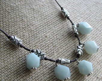 Bold Lexi Flower Necklace Featuring Amazonite