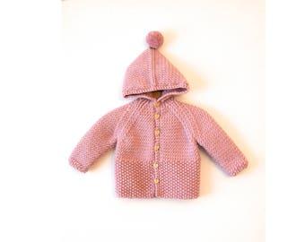 Hand Knitted Baby Girl wool Hoodie Cardigan/Jacket, Chunky, Raglan with Pom Pom