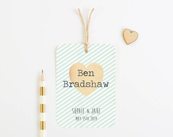 Mint stripe luggage tag place card