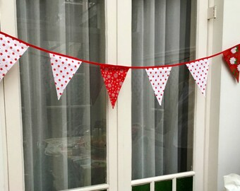 Festive Christmas flags in red and white