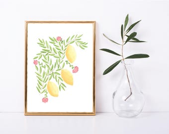 Instant Download, Watercolor Painting, Watercolor Picture Lemons and Flowers Art Print, Watercolor Lemon Art, Watercolor Blossoms Art Print