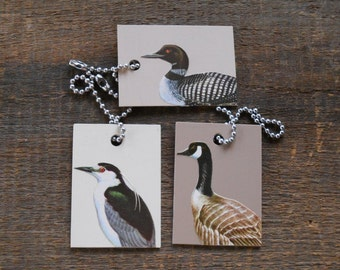 Bird Luggage ID Tags or Keychains -  Loon, Night Heron, Canada Goose - Recycled