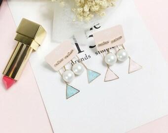 Triangle and Pearl earring, Drop earring, Baby colored earring, pink and blue earring, cute earring, K-pop style, Cubic Zirconia earring