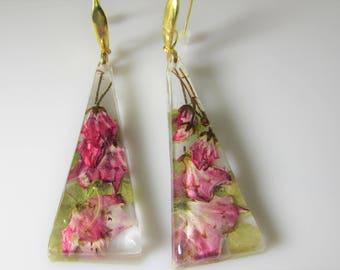 Pink  Kalmia Flowers,,   Real Flower Earrings,  Pressed Flower Jewelry,  Resin (3084)