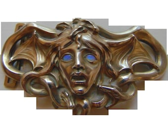Art Nouveau Museum Quality medusa belt buckle with  Opals