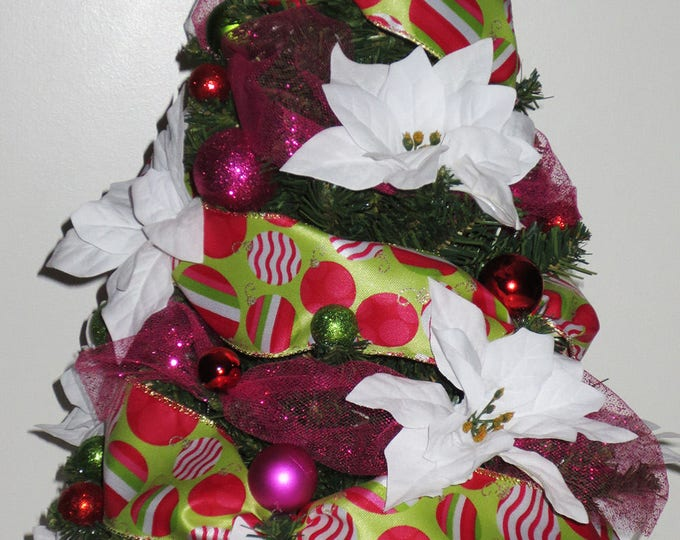 Christmas Pop, Tabletop Christmas Tree, Christmas Decoration, OOAK Christmas,  Topiary Tree,