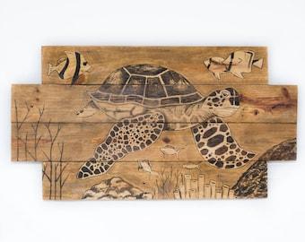 Sea turtle painting Sea turtle decor Sea turtle wall art Animal decor Animal art Beach house decor Beach house art Lake house decor Pallets