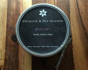 Sultry (Vanilla, Amber& Musk) 100% Soy Hand Poured Candle