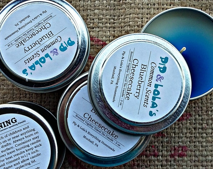 Blueberry Cheesecake Scented Travel Tin Candle - Pip & Lola's Common Scents - Soy Candle Wax, Travel Tin, EcoSoy, Candle, Lightly Scented