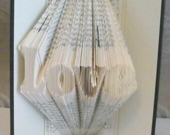 Love Folded Book Art Sculpture Handmade Valentine's Gift