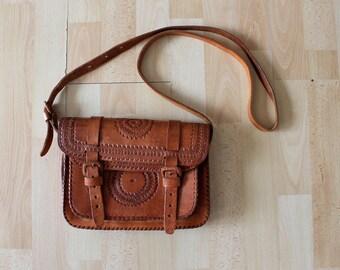 70's Boho Cross body Leather Tan 70's Satchel Tooled Bag