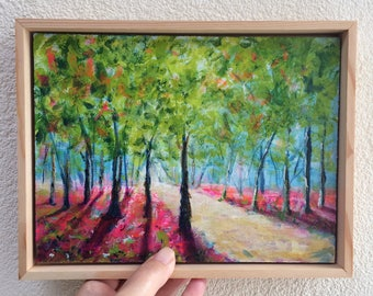 Original painting, landscape painting, colorful, mini painting, tiny art, contemporary art, gift for her, christmas gift, woodland, framed
