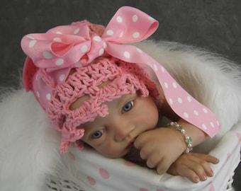 Handmade Baby Hat, Crochet Baby Girl's  hat, cotton, 0 - 3 mo, Solid Pink Cotton,Newborn Photo Prop, Baby Girls, Spring Hat, Summer Hat,