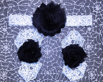 Black on White Halloween barefoot sandals w/ headband