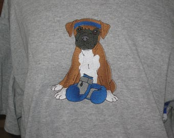 Boxer puppy embroidered t-shirt  New