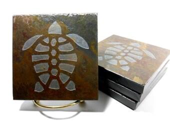 Turtle Coasters - Etched Slate Coasters, Quality Handmade Stone Coasters Set, Nautical Coasters, Beach Drink Coasters Sea Turtle Decor Gifts