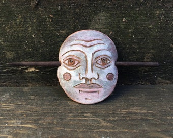 Moon Face Leather Barrette, Leather Barrette, Lunar Leather, Luna, Luna Face, Hair Clip, Hair Stick, Bamboo, Facial Lines, Celestial Face