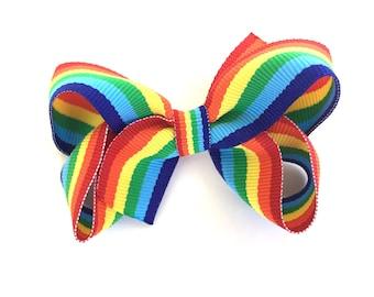 Rainbow hair bow - rainbow bow, hair bows, girls bows, girls hair bows, boutique bows, toddler bows, hair bow, rainbow bows, bows, baby bows